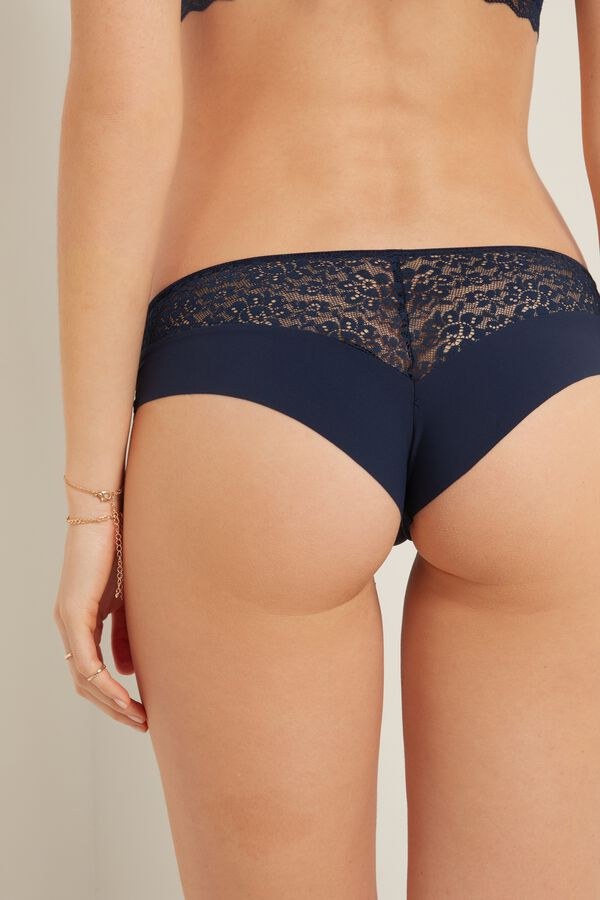 Laser Cut Microfibre and Recycled Lace French Knickers
