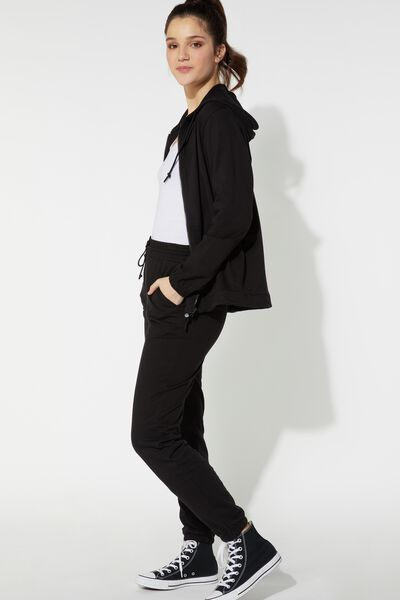 Jogging Pants with Welt Pocket and Drawstring