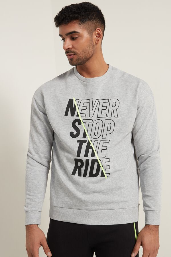 Long-Sleeved Dropped Shoulder Printed Sweatshirt