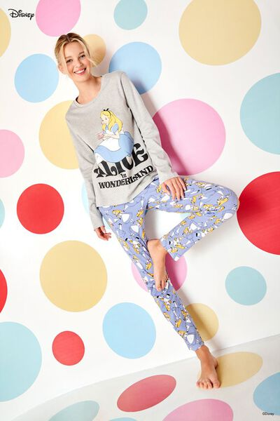 Pijama Largo de Algodón Grueso con Estampado Disney de Alicia Gris