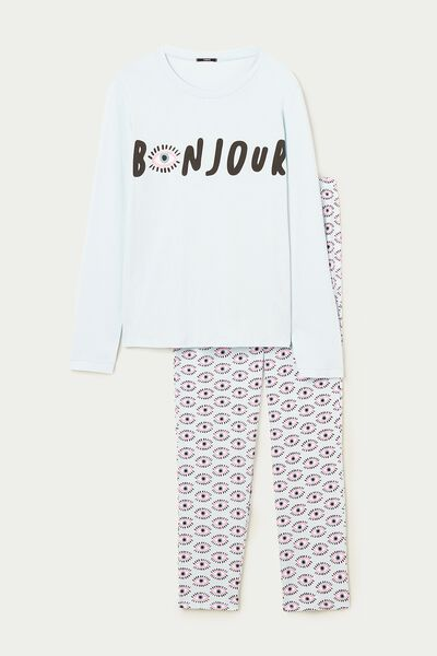 Bonjour Print Long Cotton Pyjamas