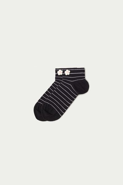 Patterned Cotton Trainer Socks with Appliqué