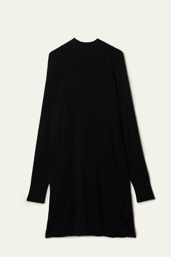 Mock Turtleneck Viscose Dress