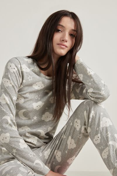 Long Cotton Moon&Cloud Print Pajamas
