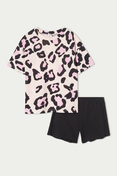 Girls' Animal Print Short Cotton Pyjamas