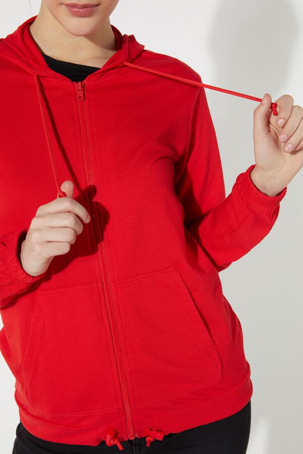 Hooded Sweatshirt with Zip and Drawstring