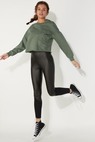 Ribbed Faux Leather Leggings