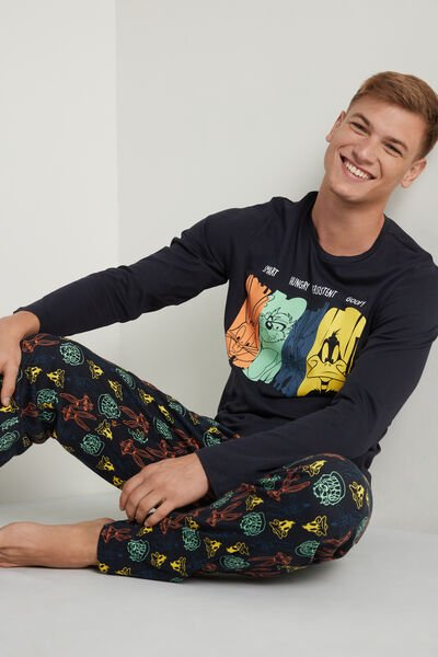 Long Heavy Cotton Pyjamas with Looney Tunes Print