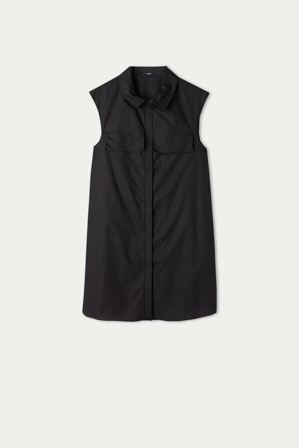 Sleeveless Cotton Shirt Dress with Buttons