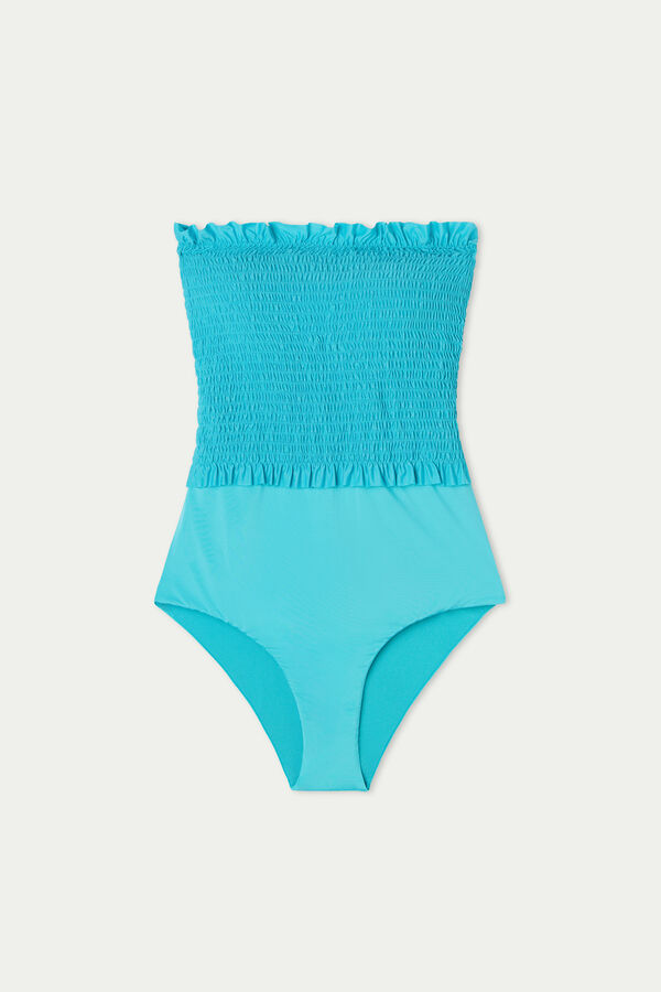 Smocked Bandeau One-Piece Swimsuitin Recycled Microfibre