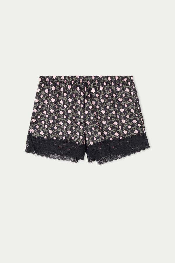 Shorts aus Satin und Spitze