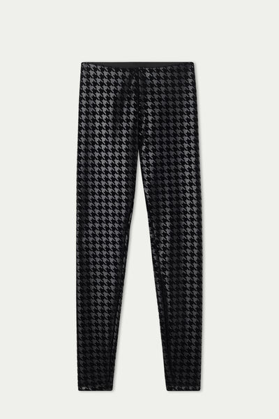 Coated-Effect, Flocked Thermal Leggings with Houndstooth Appliqué