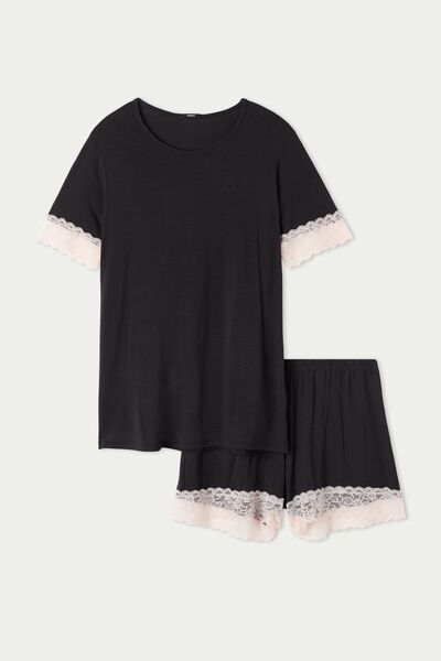 Short Round-Neck Pyjamas in Viscose and Lace