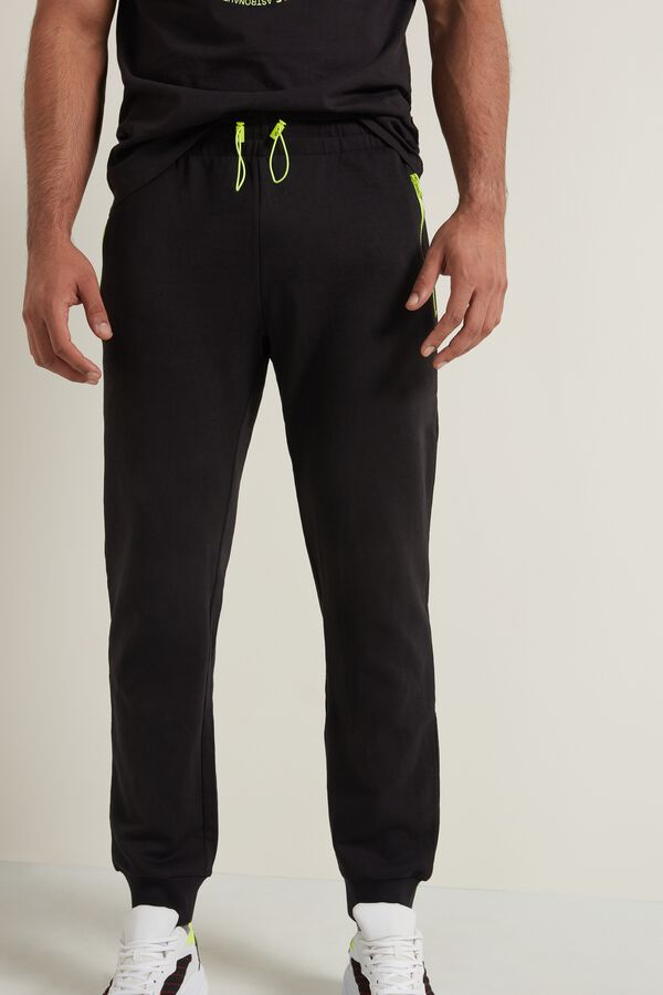 Long Fleece Pants with Contrast Color Zipper