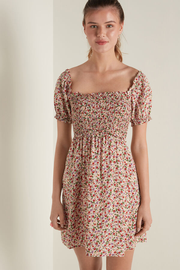 Short Sleeve Dress in Stitched-Smock Viscose