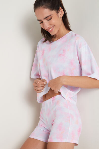 Kurzer Pyjama mit Batikprint