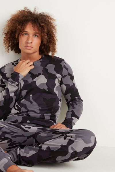 Men's Long Camo Print Pyjamas