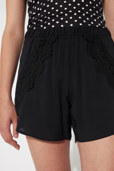 Canvas Tulip Shorts with Macramé