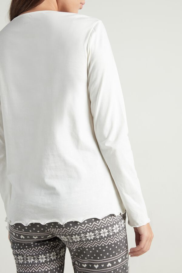 Long Sleeve Lettuce Leaf Stitch Cotton Top