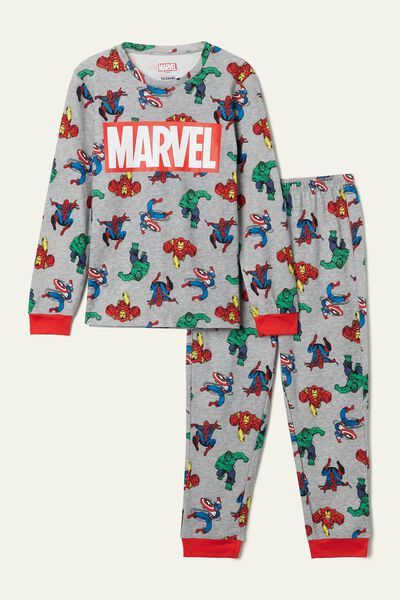 Boy's Marvel Print Long Cotton Pyjamas