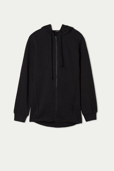 Asymmetric Sweatshirt with Zip and Hood
