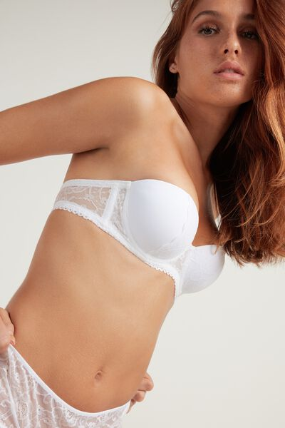 Madrid Super Padded Microfiber and Lace Bandeau Bra