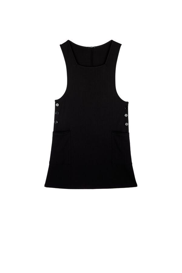 Buttoned Milano-Stitch Dungaree Dress