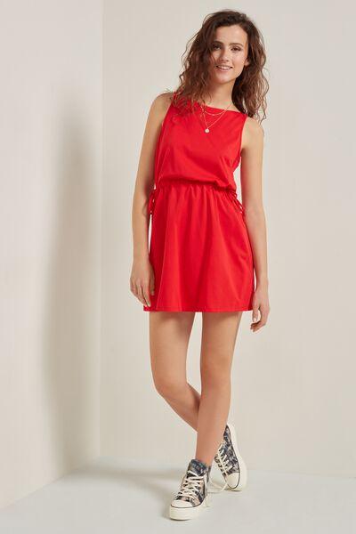 Short Sleeveless Dress with Drawstring