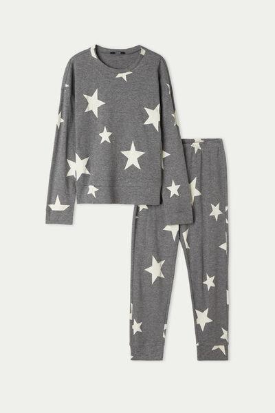 Μακριά Βαμβακερή Πιτζάμα για Κορίτσι με Print Αστέρια