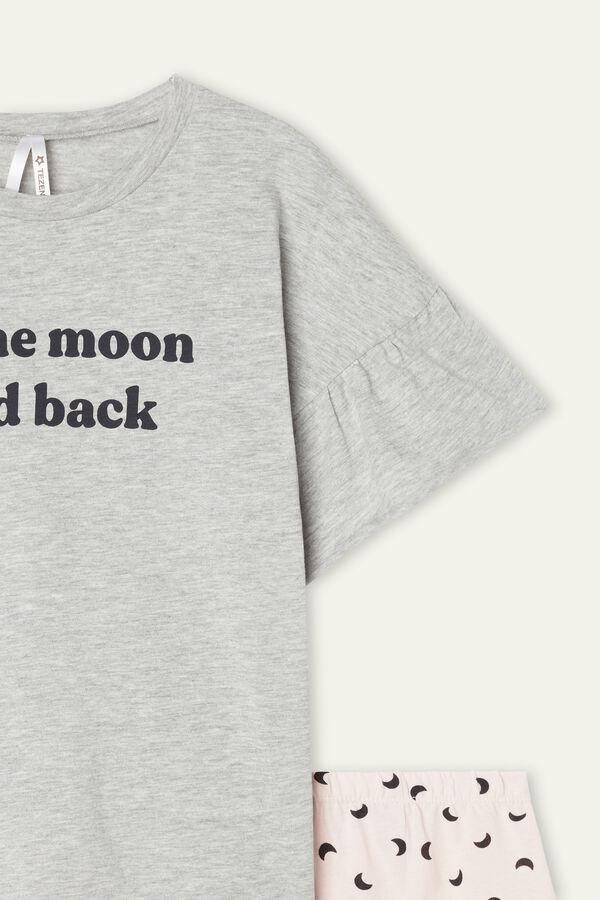 "Girls' ""To the Moon"" Print Short Cotton Pyjamas"