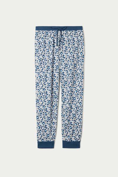 Lange Hose aus Baumwolle mit Print und Tunnelzug