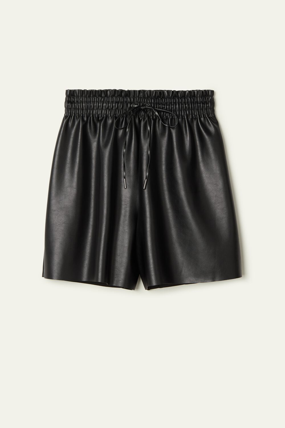 Faux Leather Shorts with Drawstring