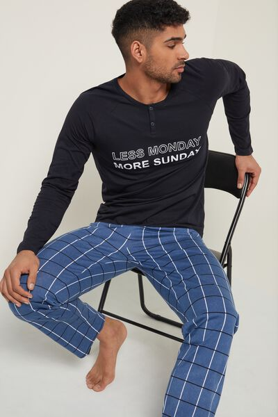 "Men's ""Monday"" Print Long Cotton Pyjamas"