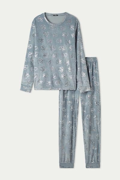 Dlouhé Pyžamo z Mikroflísu Potisk Love