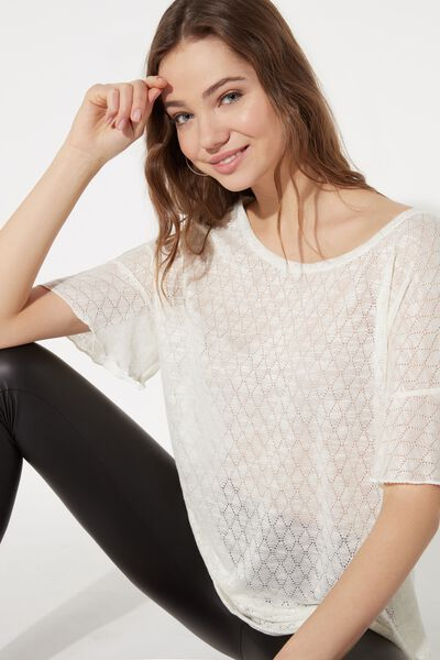 Short Sleeve Top in Diamond Pattern Light Jersey