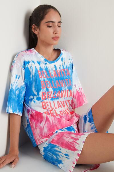 "Kurzer Oversize-Pyjama mit ""Bella Vita"" Batikprint"