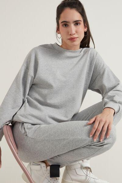 Long-Sleeve Extra-Long Oversized Sweatshirt