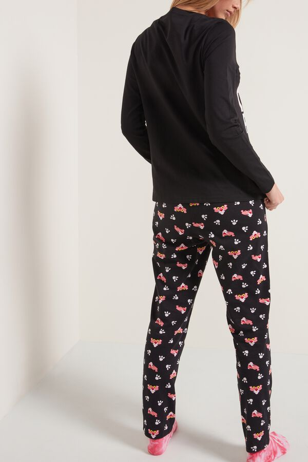 Black Pink Panther Print Long Cotton Pyjamas