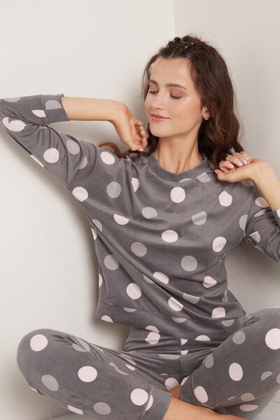 Dlouhé Pyžamo z Mikroflísu Potisk Velké Puntíky