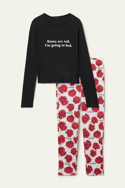 Rose Print Long Cotton Pyjamas