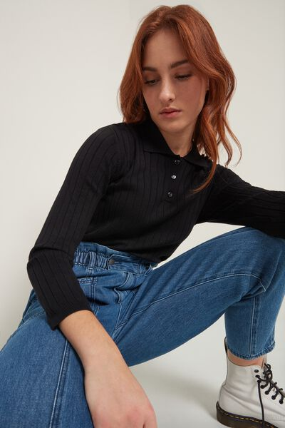 3/4 Length Sleeve Viscose Polo Shirt