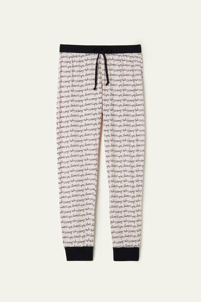 Long Printed Cotton Drawstring Trousers