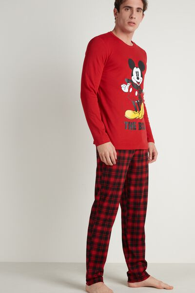 Men's Long Cotton Mickey Mouse Pajamas