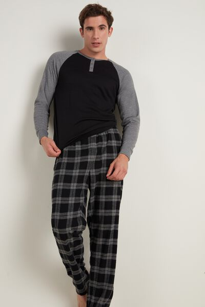Mens Long Henley Pajamas