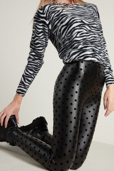 Polka Dot Faux Leather Thermal Leggings