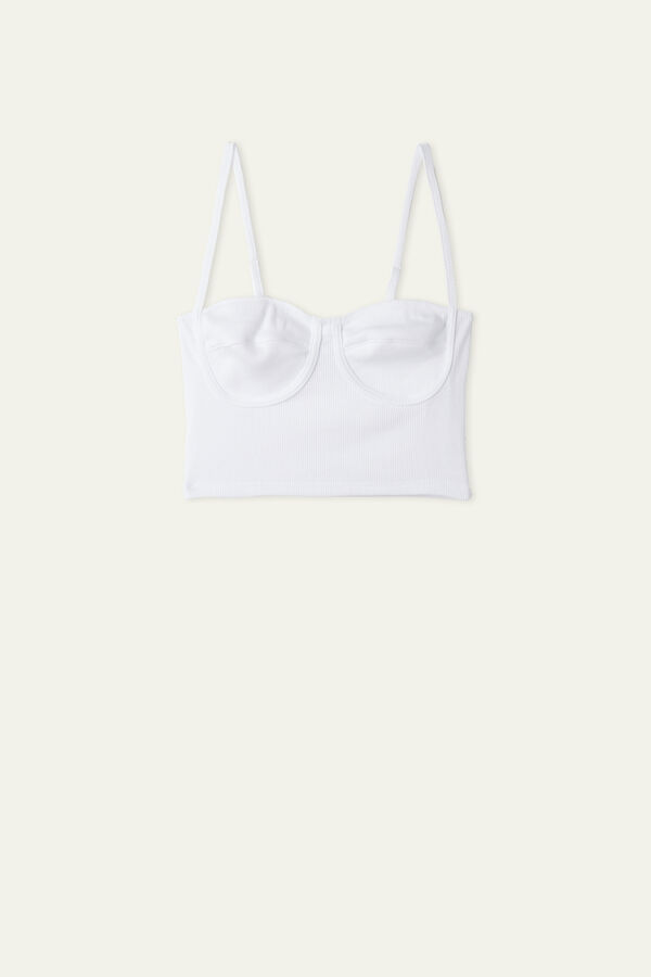 Short Ribbed Cotton Top with Cups