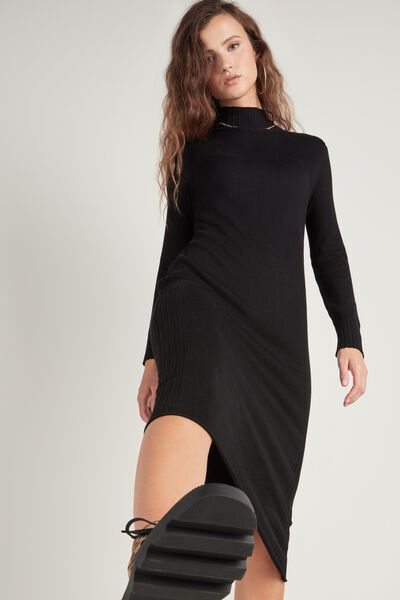Mock Turtleneck Midi Dress