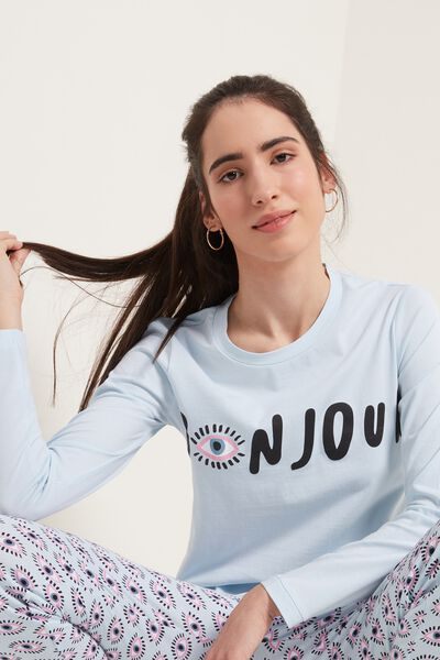 Long Cotton Bonjour Print Pajamas