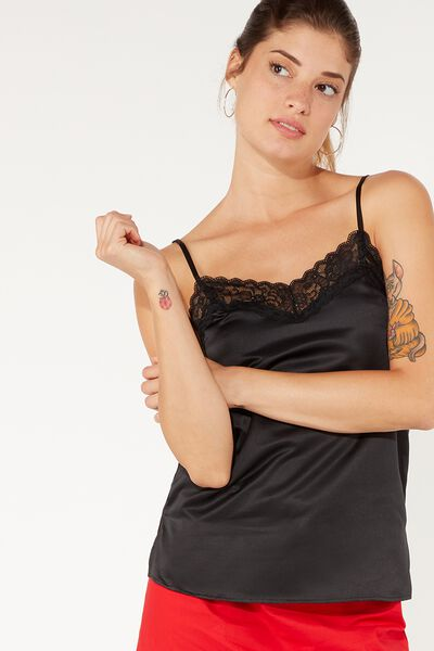 Lace and Satin Tank Top