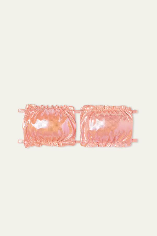 Glossy Gathered Bandeau Bikini Top
